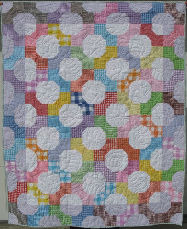 tutorial quilt brights on gingham white