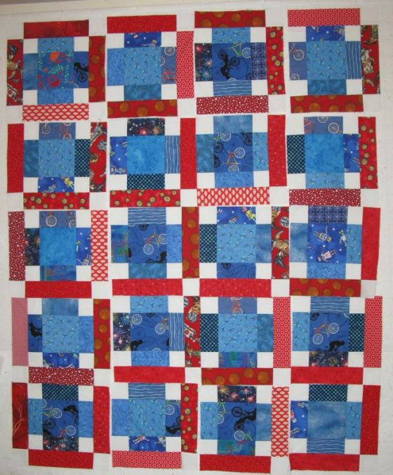 Sashless Quilt in pieces