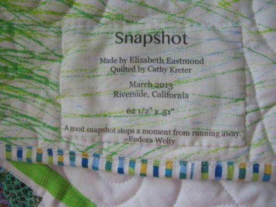 Snapshot Quilt label