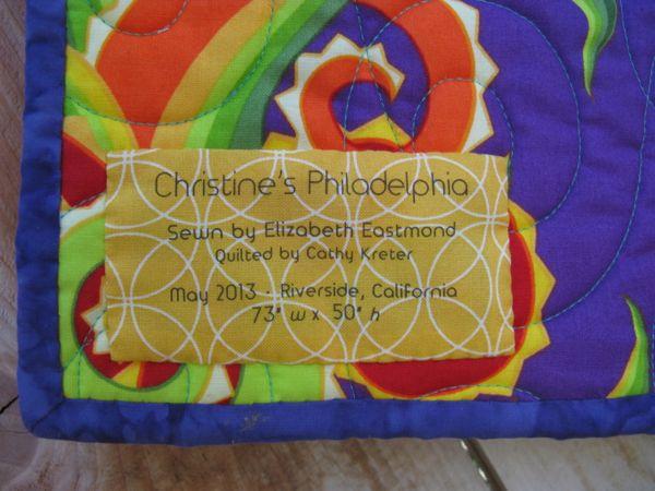 Christines Philadelphia Quilt Label