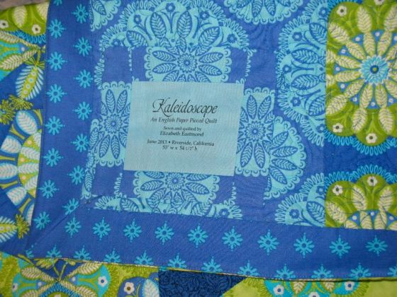 Kaleidoscope quilt label