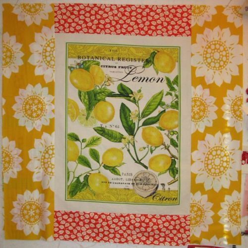 Back of Citrus quilt with dishtowel