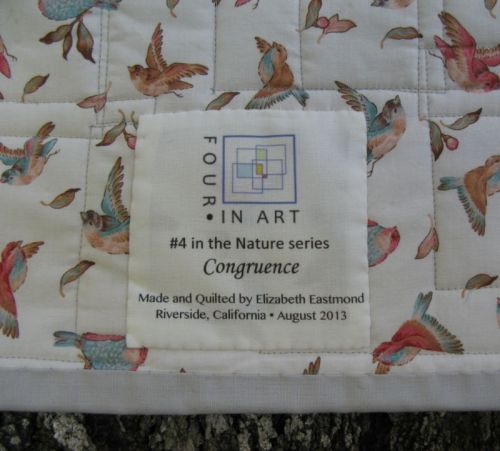 Congruence Owl quilt label