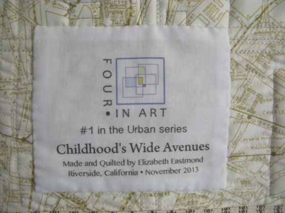 ChildhoodWideAvenues Art Quilt_label