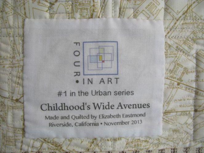 ChildhoodWideAvenues Art Quilt_label