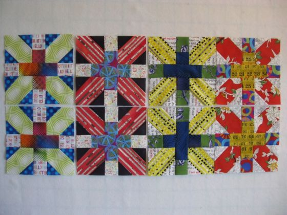 Jan CrossX quilt blocks lined up