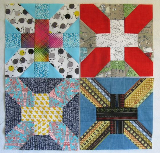 April Cross-X Quilt Blocks stacked