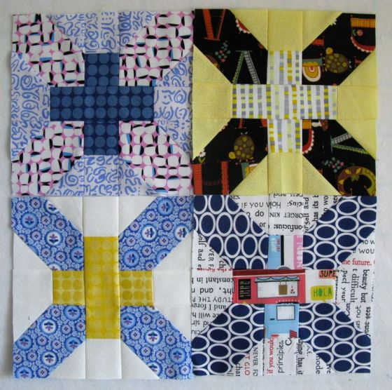 Mar Cross-X Quilt Blocks stacked