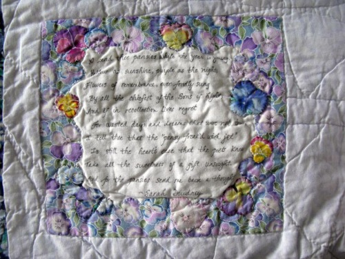And For the Pansies Poem on Label
