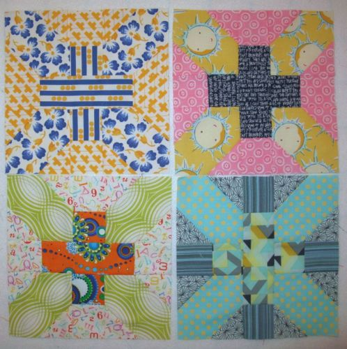 May Cross-X Quilt Blocks stacked