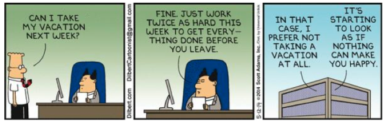 Dilbert going on vacation