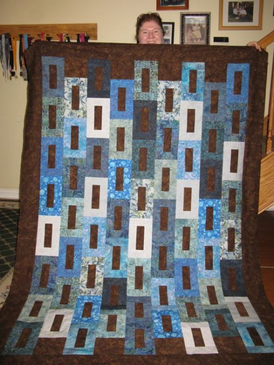 Jean and her quilt July 2014