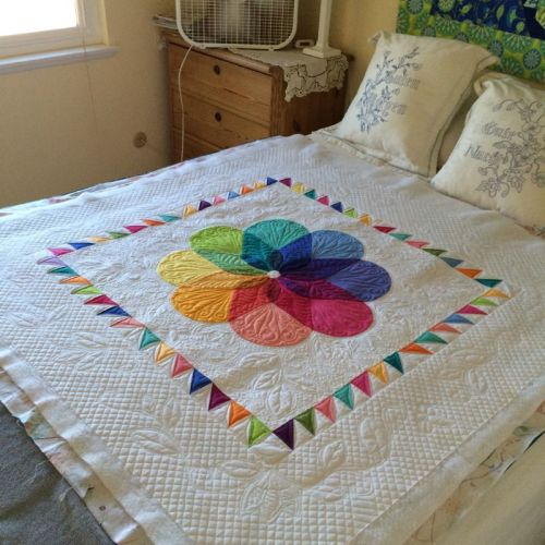 Colorwheel Blossom Drying on Bed