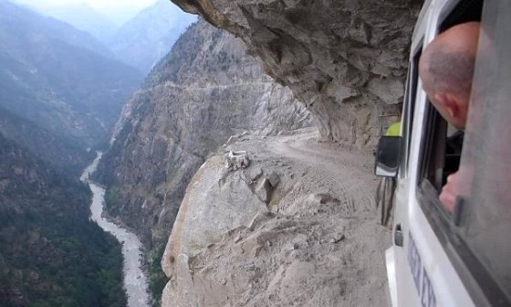 Narrow Mountain cliffside road