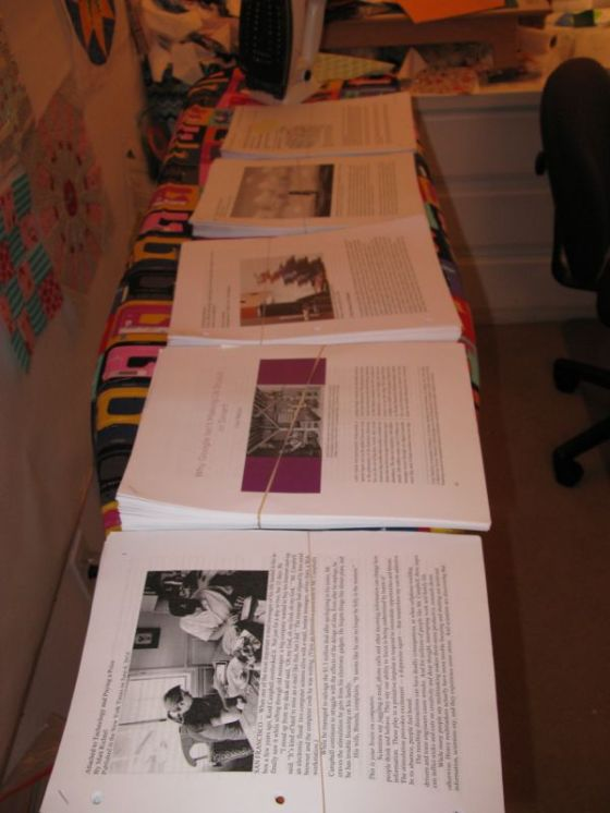 Papers on ironing board