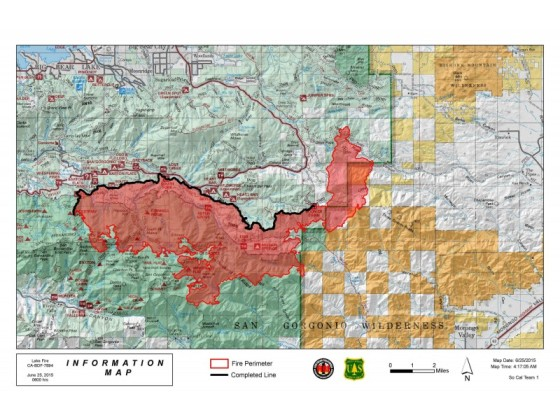 Lake Fire June 25 Map