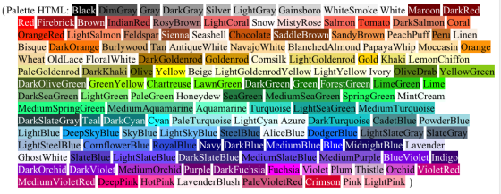 Simone's Color Chart