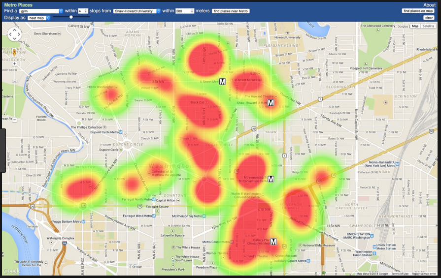 heat map_gym locations in dc