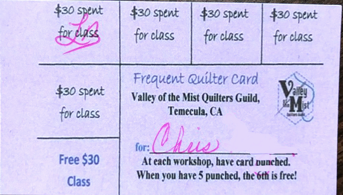 Frequent Quilters Card