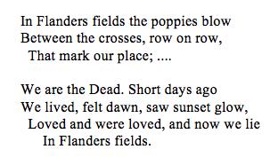 In Flanders fields the poppies