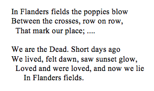 In Flanders fields the poppies